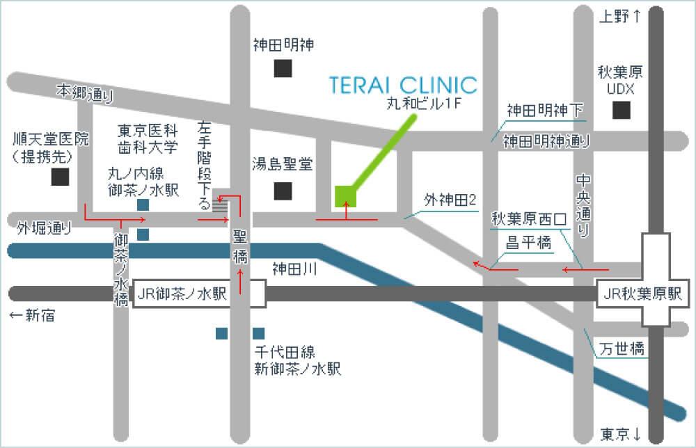 御茶ノ水駅 秋葉原駅から寺井クリニックまでの地図